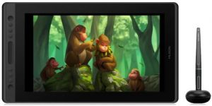 Huion Kamvas Pro 16 avec un dessin de singes