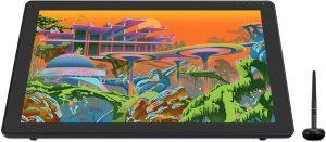 Huion Kamvas 22 Plus sur un dessin de villa futuriste