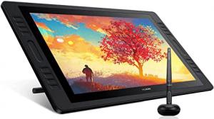 Tablette graphique Huion Kamvas Pro 20 affichant un dessin de cerisier au soleil couchant