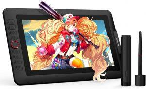XP-Pen Artist 13.3 Pro avec le dessin d'une fille tenant un kanabo
