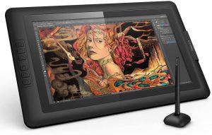 XP-Pen Artist 15.6 avec son stylet graphique ouverte sur Photoshop