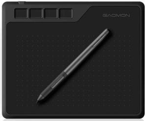 Tablette graphique Gaomon S620 vue de face avec son stylet graphique